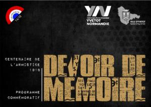 Centenaire de l'Armistice 1918 – Devoir de Mémoire – Programme des animations