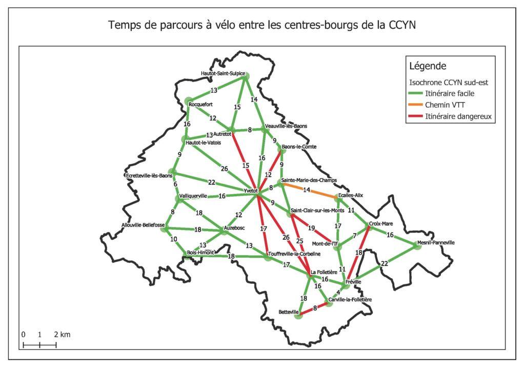 Plan vélo intercommunal : isochrone CCYN
